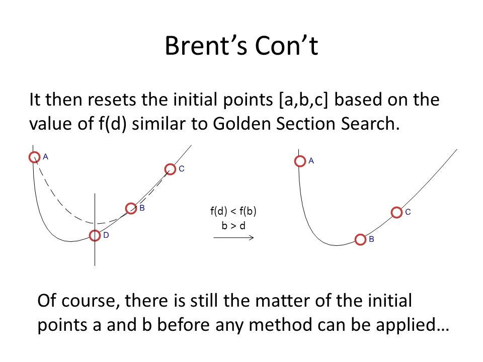 Brent's Con't It then resets the initial points [a,b,c] based on the value of f(d) similar to Golden Section Search.